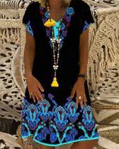 Women Daily Dress Print Shift Midi Dress