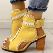 Chunky Heel Buckle Open Toe Hollow Color Block Sandals