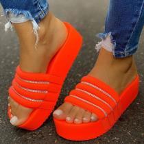 Women Slip-On Rhinestone Platform Summer Slippers