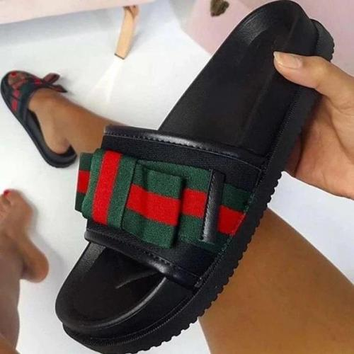 Flip Flop Flat With Slip-On Bow Color Block PVC Slippers