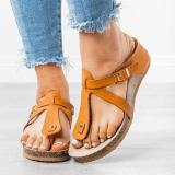 Thong Wedge Sandals Pu Wedge Heel Summer Slippers