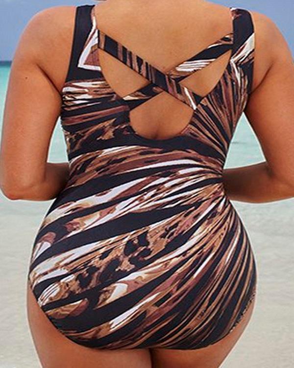 Oversize Multi-color Fireworks Printed Backless Bathing Suit