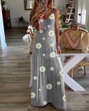 Sleeveless Floral Print V Neck Holiday Maxi Dress