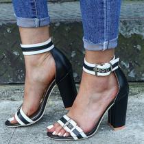 Women's High Heel Sandals Round Toe Thick Heel Elegant Shoes