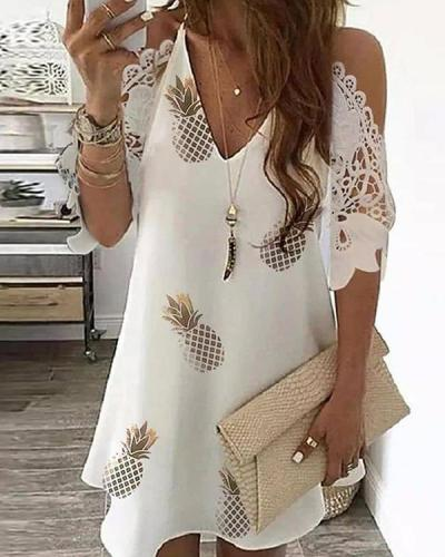Cold Shoulder Crochet Lace Printed Hollow Out Casual Dress