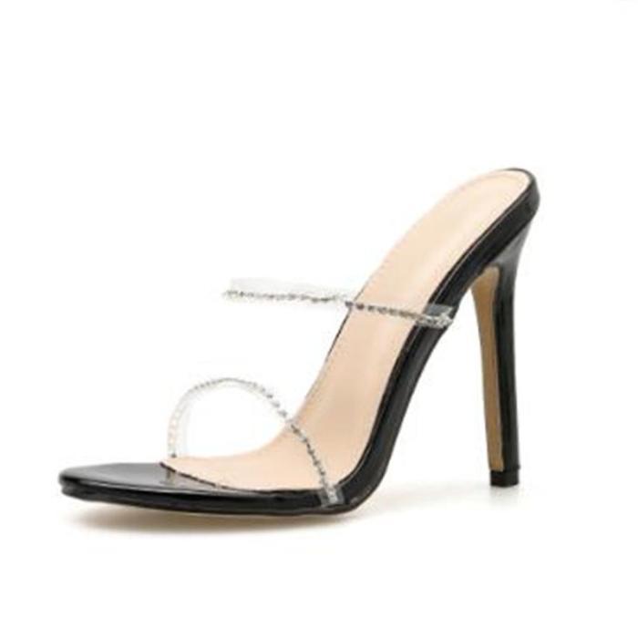 New Fashion Open Toe Summer High Heels Slippers Crystal Slipper