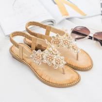 Bohemia Summer Bling Flower Crystal Flat Comfortable Sandals