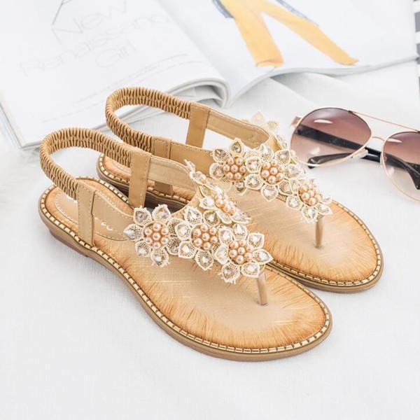 Bohemia Summer Bling Flower Crystal Flat Comfortable Sandals