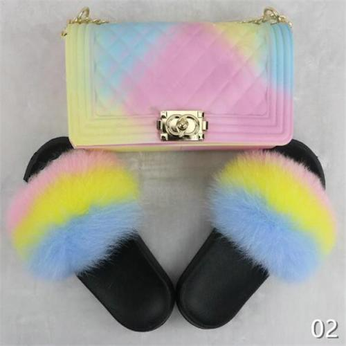 Rainbow Mixed Fur Slides & Bag Set