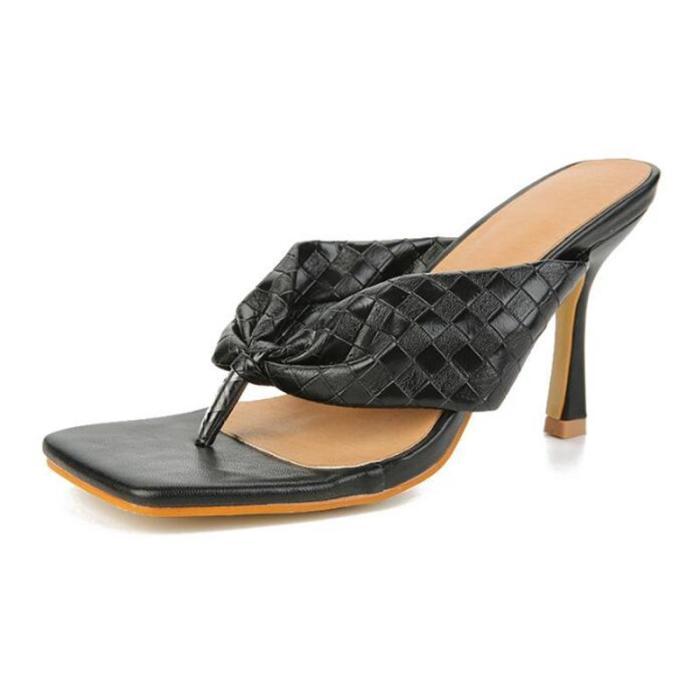 Women Summer Slippers Square ToeThin Heel Slippers
