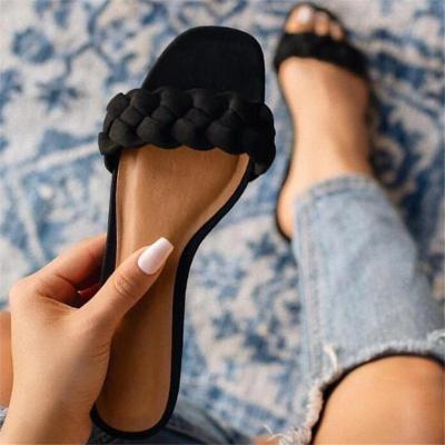 Flat With Woven Slip-On Flip Flop Summer Plain Slippers