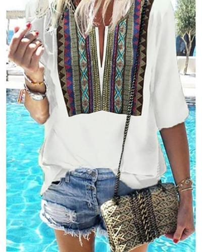 Vintage Bohemian Printed Short Sleeve Chic T-Shirts