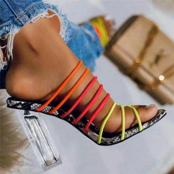 Women Multicolor Straps Block Heels Slippers Shoes
