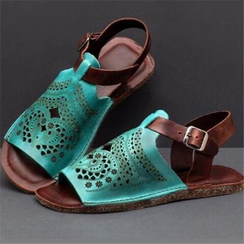 Large Size Women Peep Toe Non Slip Hollow Out Slingback Sandals
