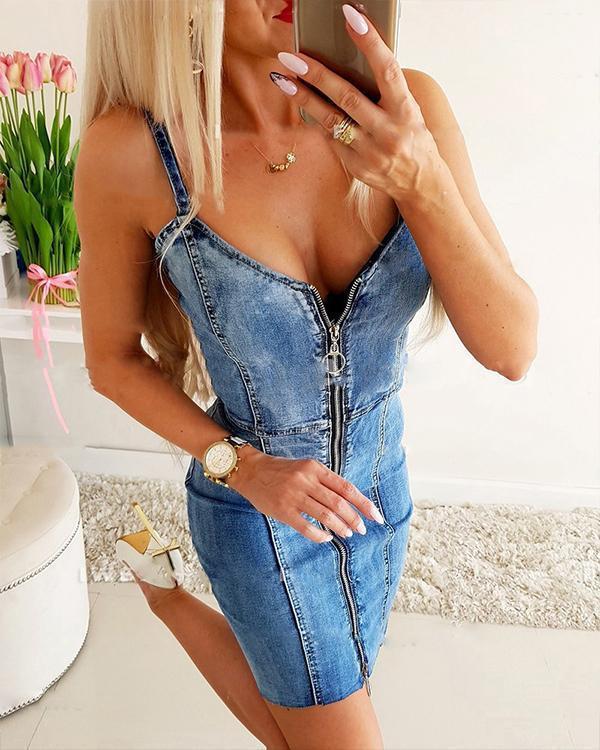 Denim Dress With Zip