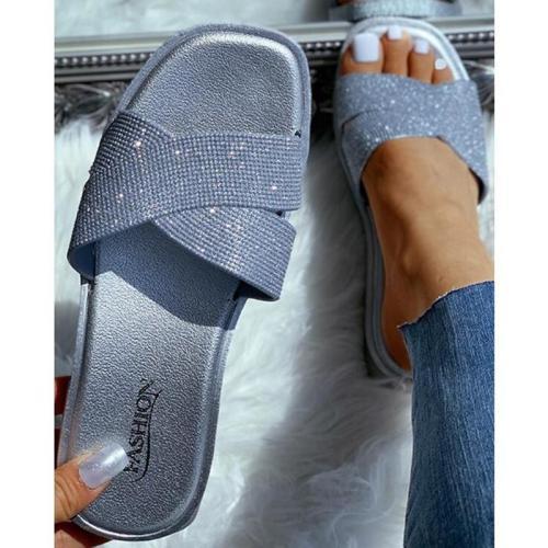 Women's  Flat Heel Sequin Sandals Slippers