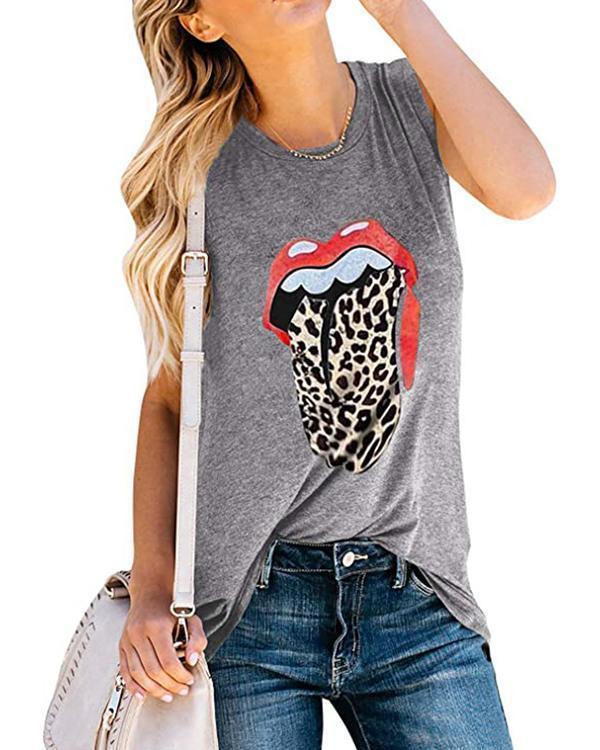 Lip Tongue Printed Sleeveless T-shirts