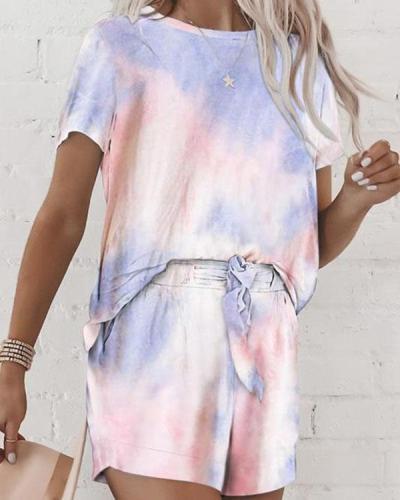 Tie Dye Drawstring Waist Two Pieces Set Loungewear