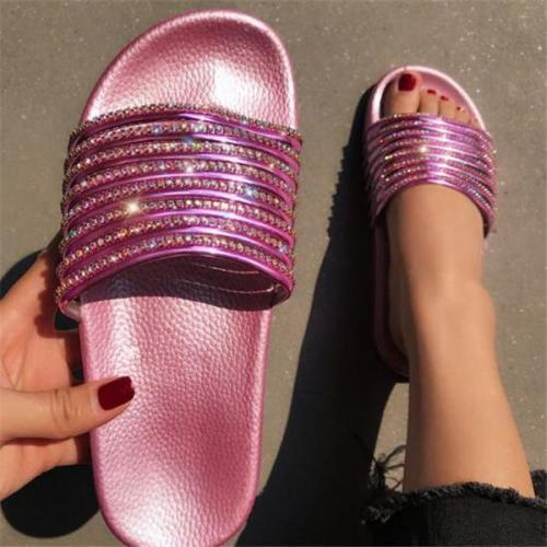 Rhinestone Slip-On Flat With Summer Slippers