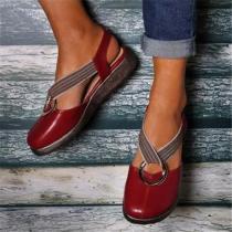 Large Size Women Casual Closed Toe Elastic Band Flat Sandals
