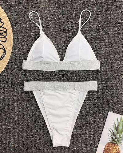 Glitter Detail High Waist Bikini Set