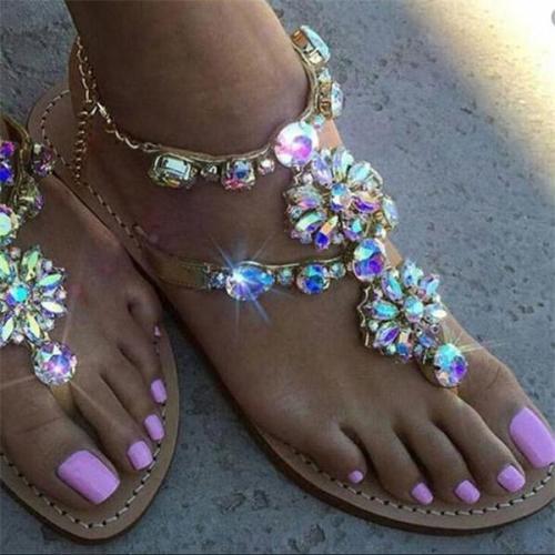 Women Summer Shoes Rhinestone Chains Gladiator Flat Sandals