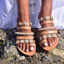 Women Rhinestones Pearl Open Toe Slip On Flat Heel Slippers