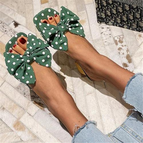 Chunky Heel Bowknot Cloth Slide Sandals