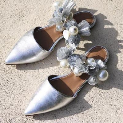 Shell Sandals Handmade Fringed Pointed Rhinestone Slippers