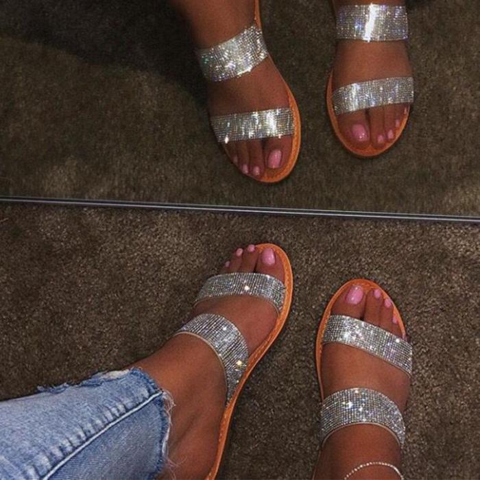 Slip-On Flip Flop Flat With Rhinestone Rubber Plain Slippers