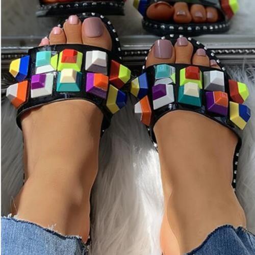 Candy Color Rivet Detail Flat Slider Sandals