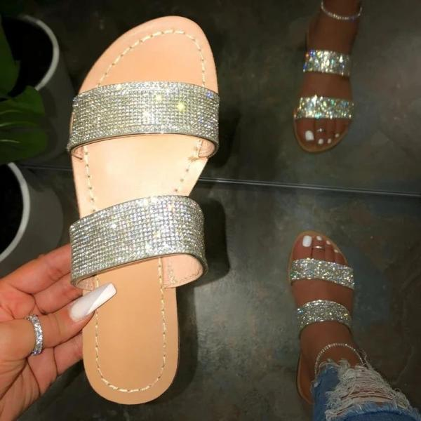 Slip-On Flip Flop Flat With Rhinestone Rubber Plain Slippers