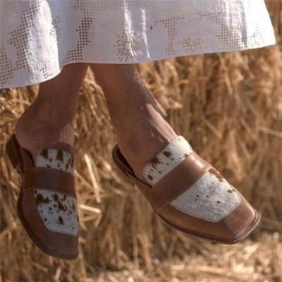 Fashion Contrasting Square toe Outdoor Slippers