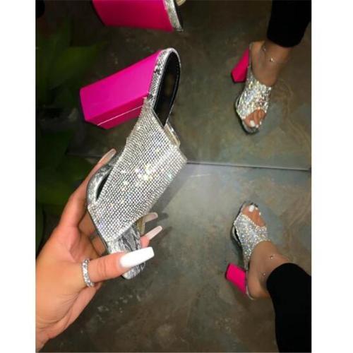 Women Fashion Hot Pink Rhinestones Sandals High Slippers