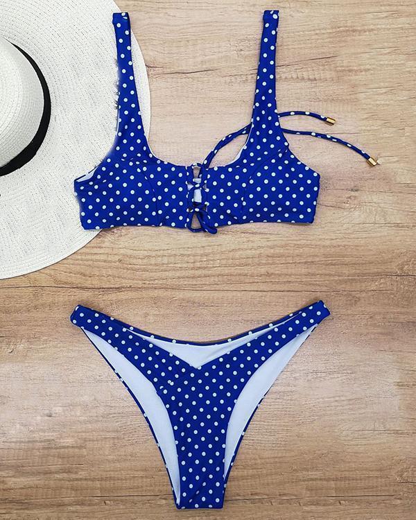 Sexy Dot Print Swimsuit Lace Up Bikini