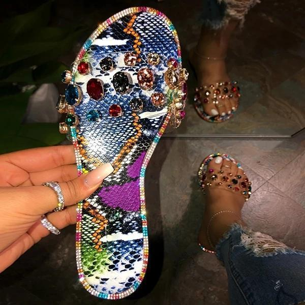 Pairmore Popular Candy Color Rhinestone Flat Slippers