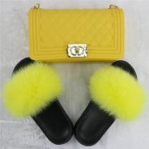 Solid Fur Slides & Bag Set (Really Good Quality)