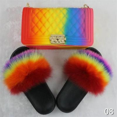 Rainbow Mixed Fur Slides & Bag Set