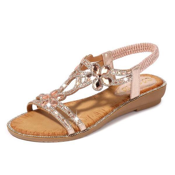 Bohemia Summer Women Bling Flower Crystal Flat Comfortable Sandals