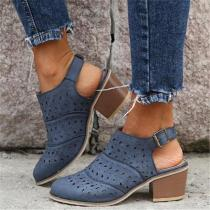 Women Hollow Chunky Heel Comfy Ankle Buckle Strap Slingback Sandals