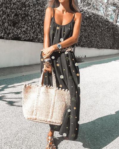 Black Flowers Pattern Draped Scoop Neck Sleeveless Fashion Maxi Dress