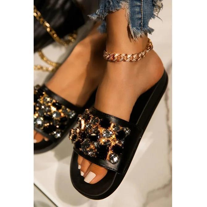 Pi Clue Daily Rhinestone Leather Slippers