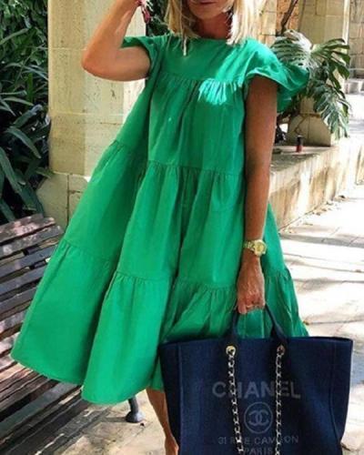 Ruched Short Sleeve Loose Green Midi Dress