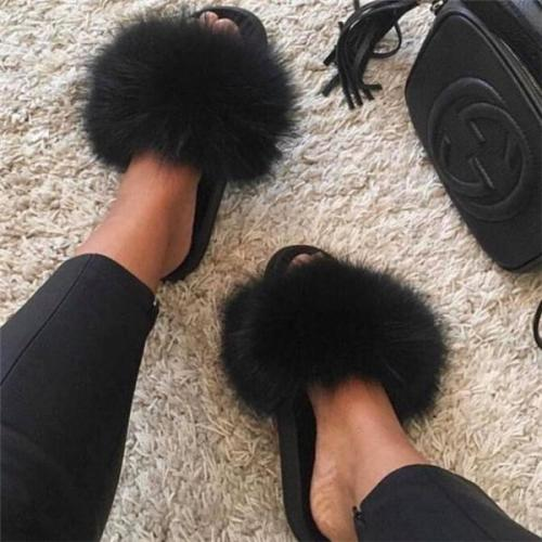 Popular Real Fox Fur Slippers Slides