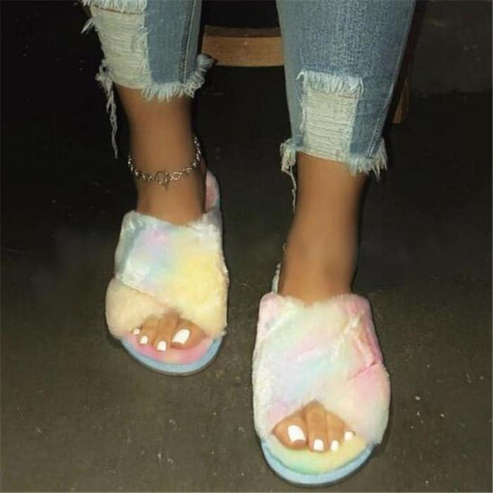Hairy open-toed comfortably worn Fur home slippers