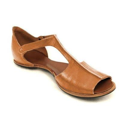Vintage Black Flat Peep Toe Slip-on Sandals Plus Sizes