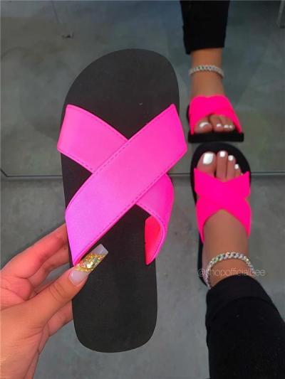 Summer Neon Pink Flat Sandals Slippers