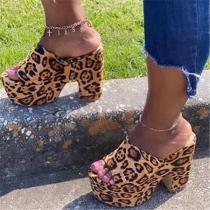 Platform Chunky Heel Slip-On Flip Flop Color Block Slippers
