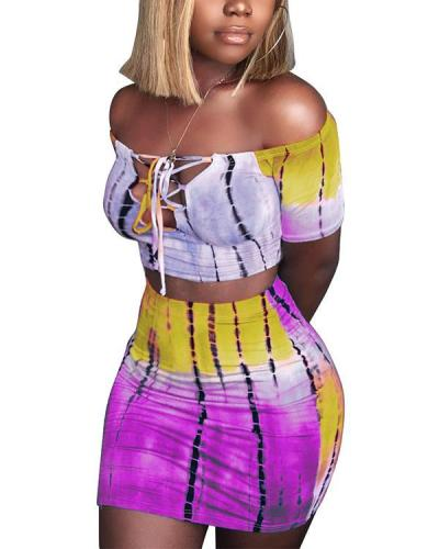 Tie Dye Lace Up Front Off Shoulder Crop Tops&Shorts