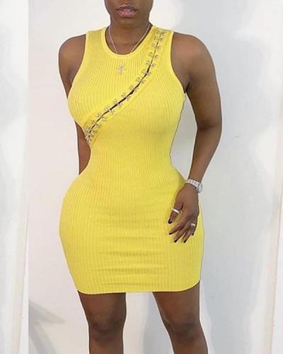 Solid Color Round Neck Bodycon Dress